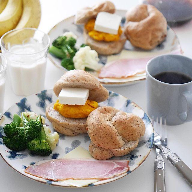 かぼちゃとクリームチーズ&ハムチーズサンド