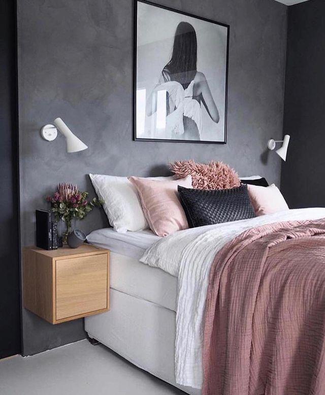 白×ピンク×濃いグレーの寝室