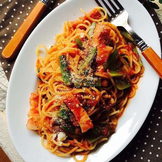 小松菜たっぷりトマトスパゲッティ