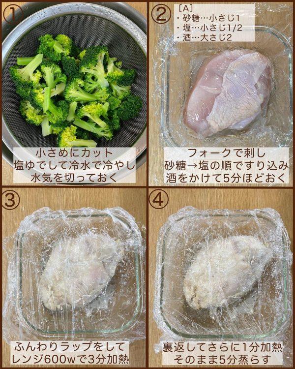 レンジ蒸し鶏のブロッコリーサラダ3