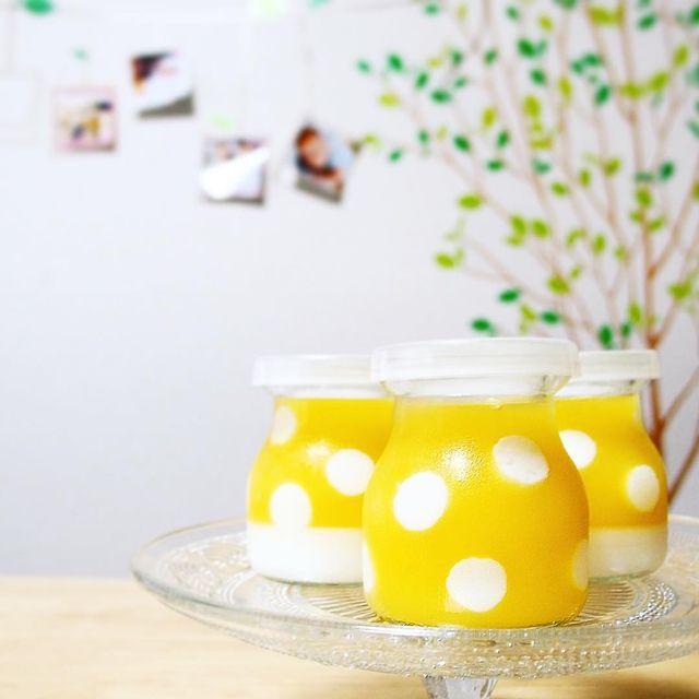 オレンジと牛乳の水玉寒天