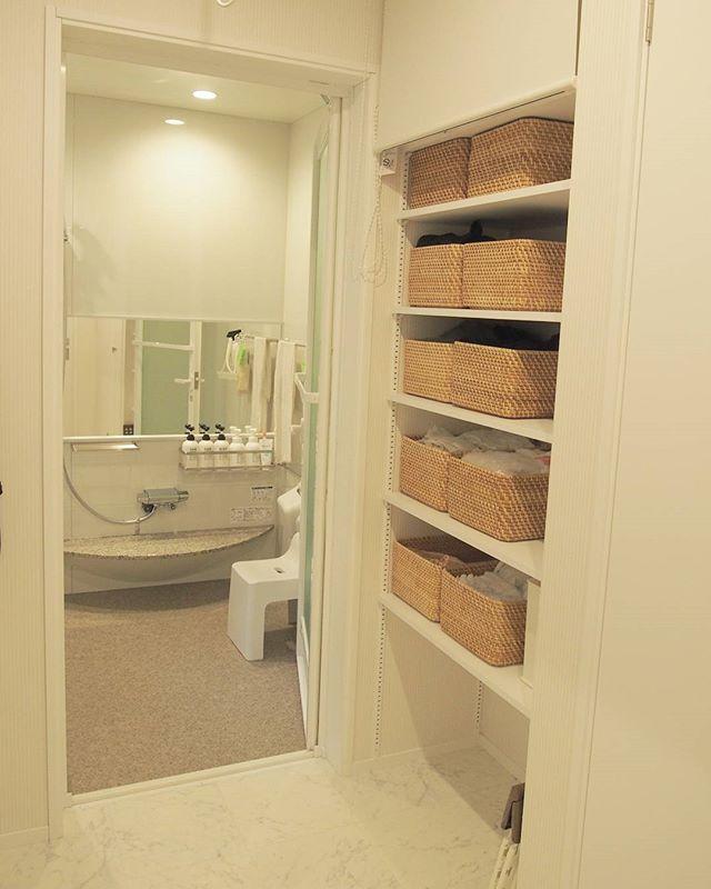 浴室の収納をラタンインテリアに