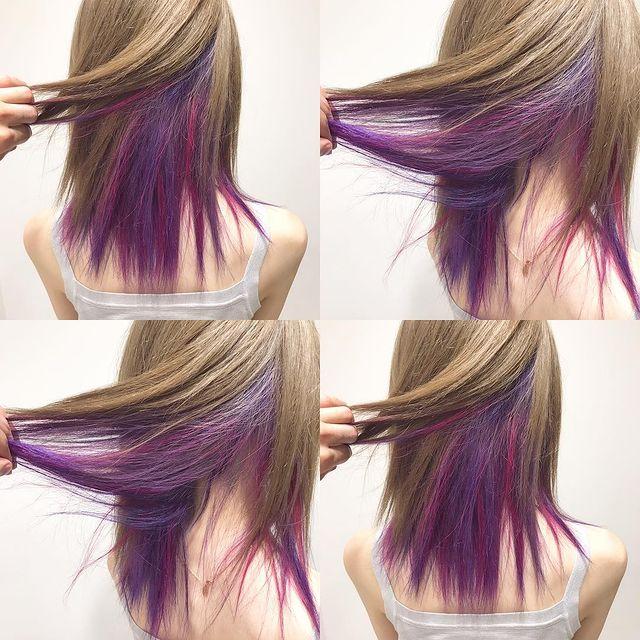 明るいベージュと紫のインナーカラー