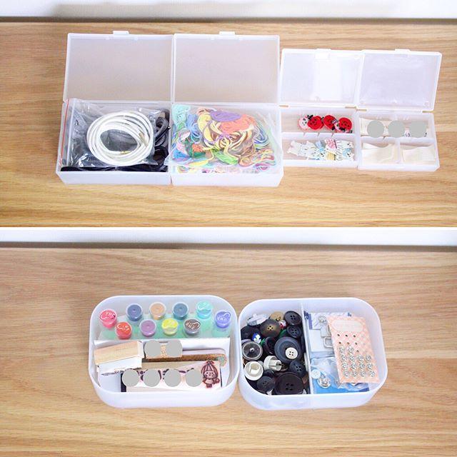 無印の工具箱でデスクの引き出しに収納