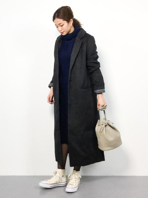 [kobelettuce] [タートルネックorクルーネック]選べる2丈総ケーブル編み×裾リブニットワンピース