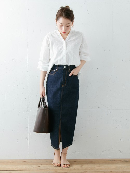 【WEB限定】ロングタイトデニムスカート
