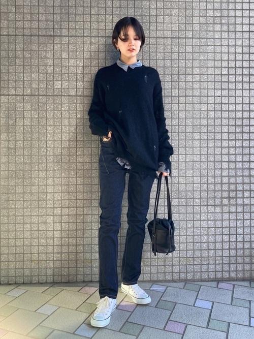 [TOKYO DEPARTMENT STORE] 【NUMBER (N)INE】《別注》ウールキッドモヘヤ ダメージニット クルーネックプルオーバー / ボーダーニット