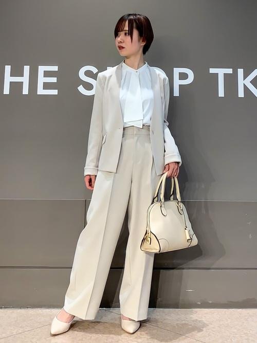 [THE SHOP TK] 【防汚】ダブルクロスストレッチVネックジャケット