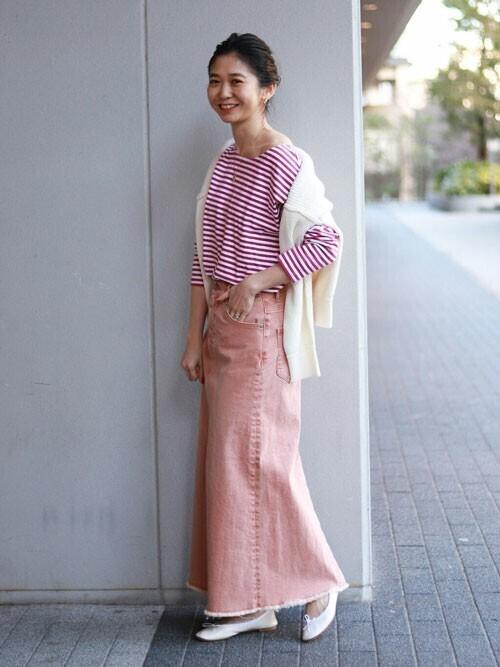 [IENA] LE DENIM×MARITAS カラーマーメイドスカート【洗濯機使用可能】◆