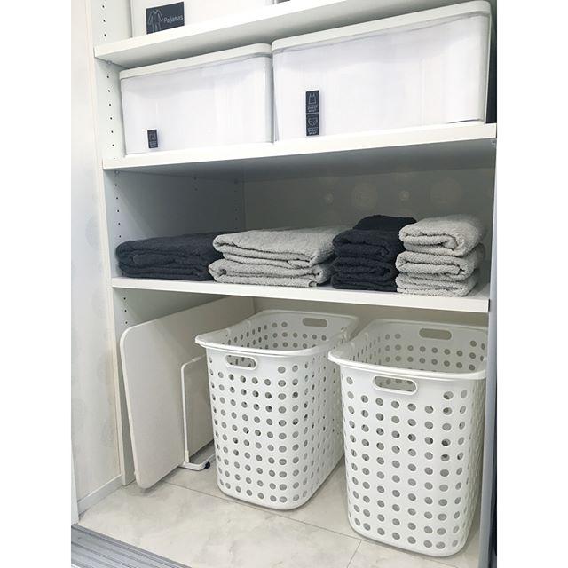 ニトリの蓋付き収納ボックスにタオルを収納
