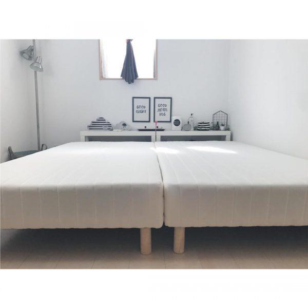 シンプルなベッドで金運アップした寝室