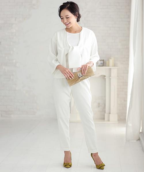[GIRL] リボンジャケット&ブラウス&テーパードパンツのセットアップセレモニースーツ
