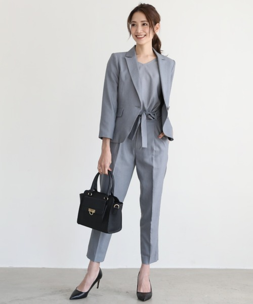 [ARMARIA] ジャケット 4ピース セットアップ フォーマル パンツ スーツ ベルト付き【4点セット】