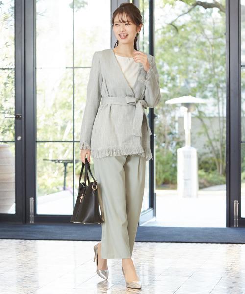 [GIRL] フリンジツイードジャケット&ブラウス&ワイドパンツのセットアップセレモニースーツ