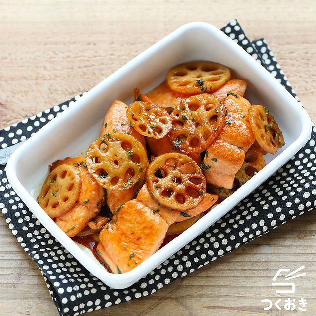 魚料理の照り焼きを鮭とれんこんで作るレシピ