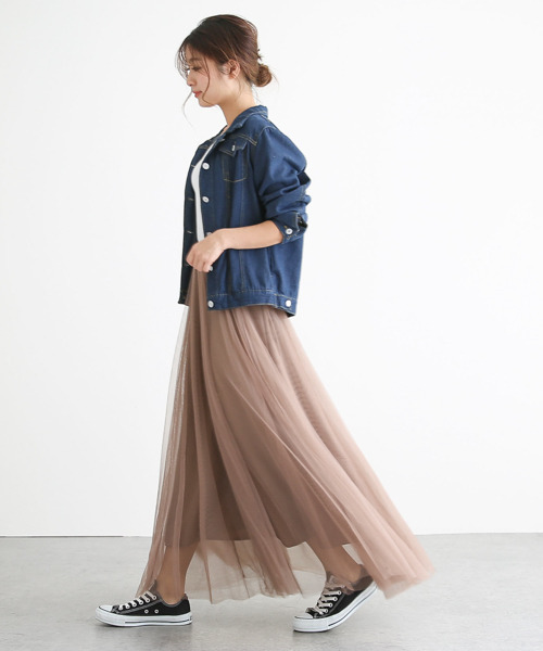 [SUGAR BISKET] ロングフレアチュールスカート