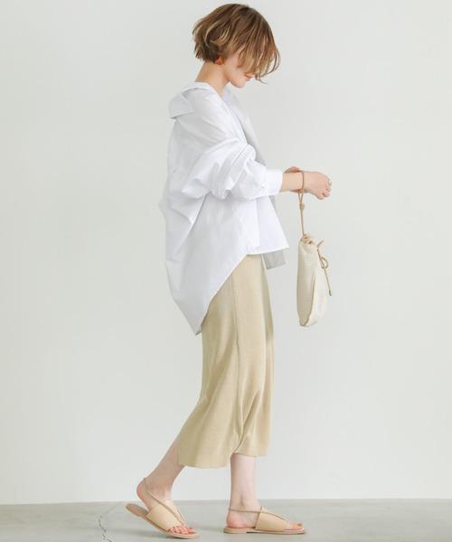 [select MOCA] 切り替えオーバーシャツ/レギュラーカラーロングスリーブルーズシルエットシャツ