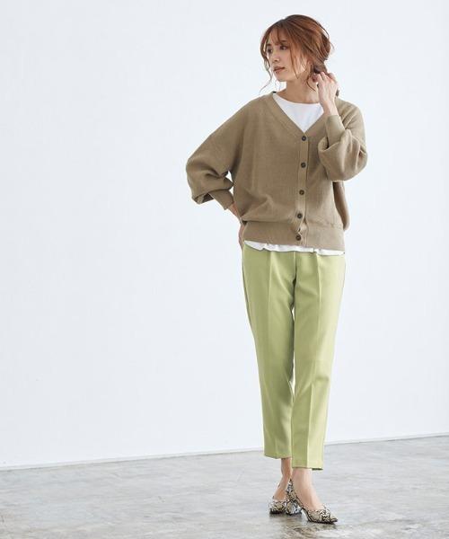 [Pierrot] 綿混ショート丈ニットカーディガン