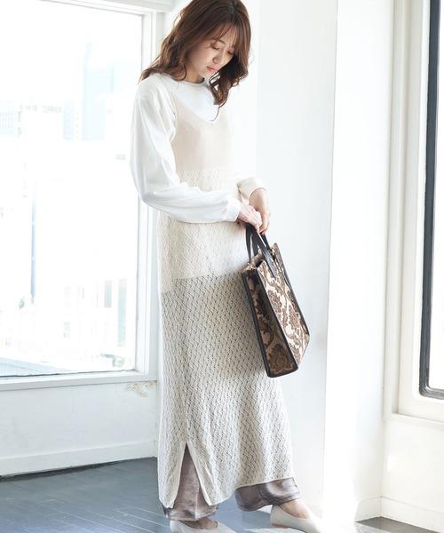 透かし編みキャミワンピース