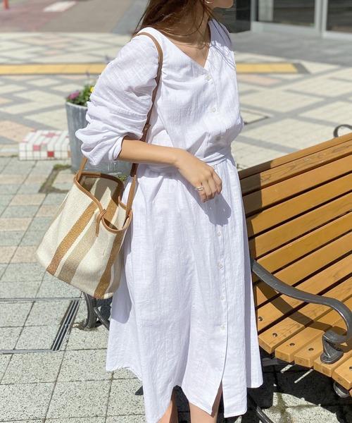 リネンタッチガウンマキシワンピース【インナースカートSET】