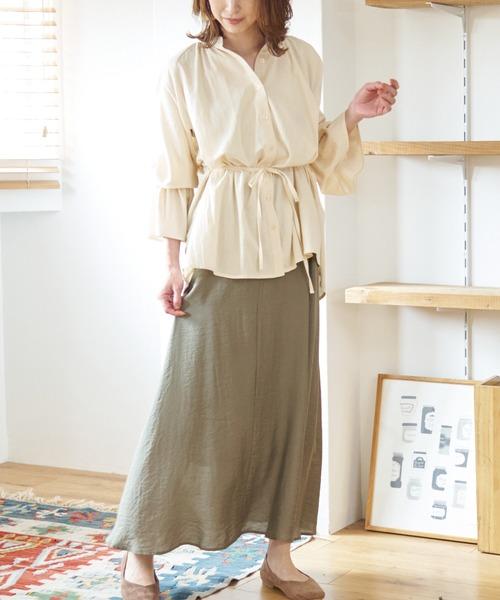 [LAVEANGE] [洗える]キャンディスリーブ オーバーシャツ【低身長向けSサイズ・大きいサイズ対応】