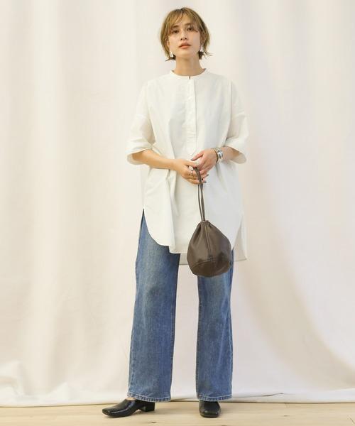 [select MOCA] ステッチスタンドカラースリーピングシャツ/サイドスリット半袖コットンシャツ