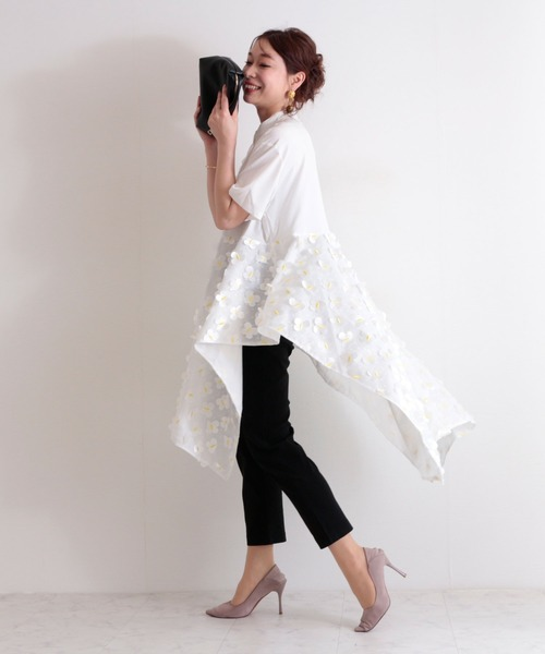 [Sawa a la mode] バタフライモチーフの半袖シアーロングシャツ