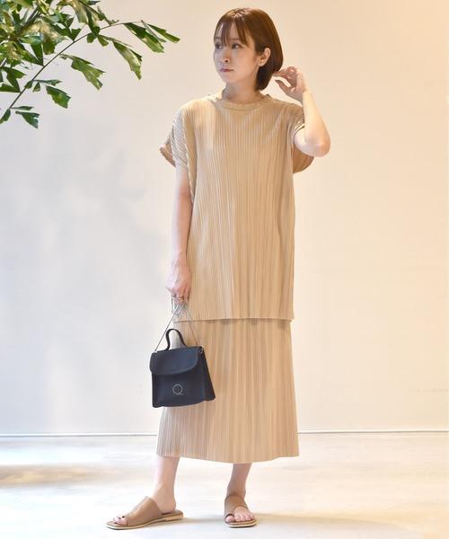 [w closet] プリーツ加工 スカートセットアップ
