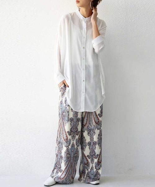 [antiqua] 新色追加!シャツ シアーの柔らか素材にルーズなシルエットが大人の抜け感を演出。
