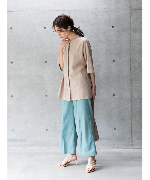 [koe] 麻レーヨン半袖バンドカラーシャツ*