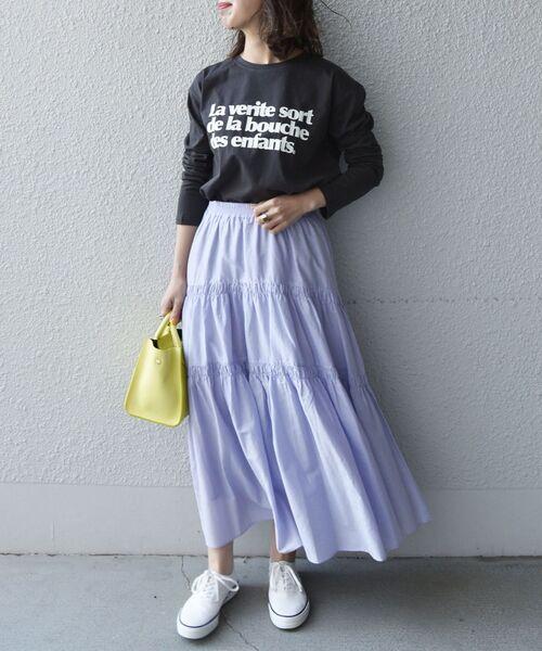 [SHIPS for women] 【SHIPS any別注】MONMIMI:プリントロングTシャツ