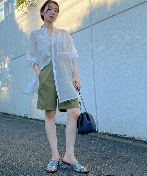 Kastane] バンドカラーボタンデザインシャツ/きれいめカジュアル/ノーカラーシャツ/オーバーサイズ