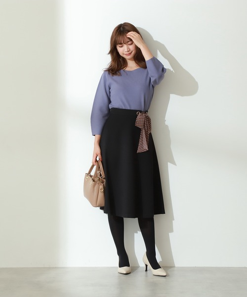 [PROPORTION BODY DRESSING] チェックスカーフ付フレアスカート
