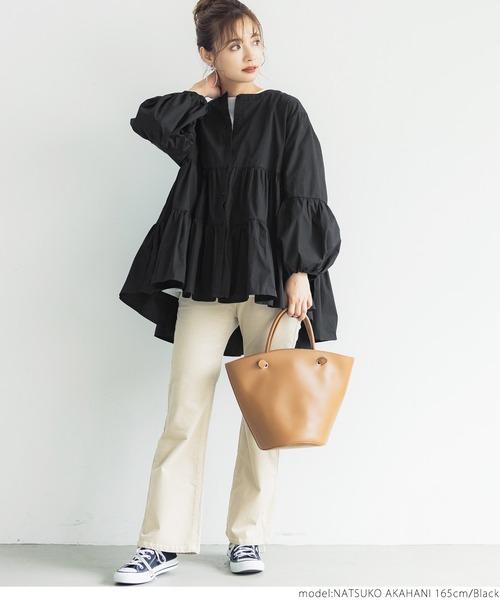 [coca] ティアードフレアバンドカラーシャツ
