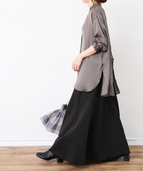 [reca] 裾切りっぱなしスウェットフレアスカート