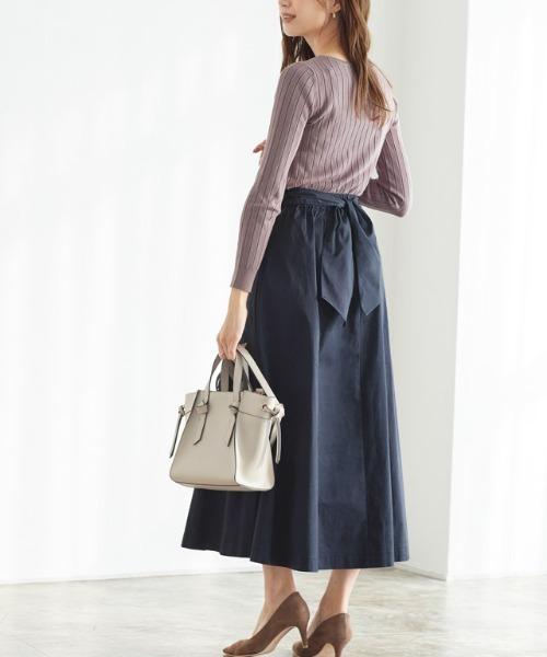 ラップ風チノ素材スカート