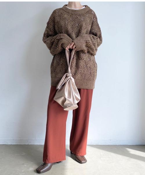 [Auntie Rosa] 【S/M/L】冬春素材セミワイドカラースラックスパンツ/ウエストゴム/タックパンツ40