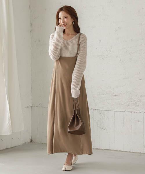 [La-gemme] マキシ丈スカートサロペ