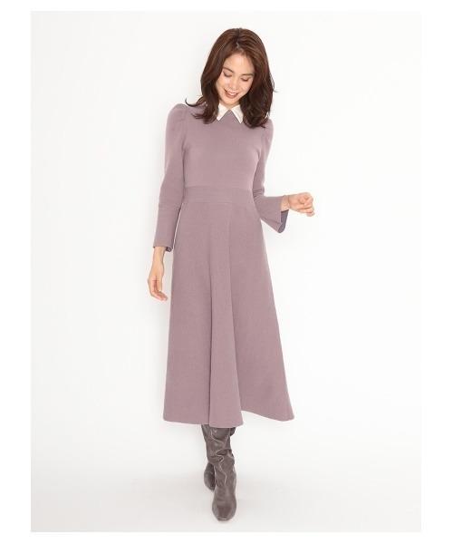 ピンク襟付きワンピース×ブーツの冬コーデ