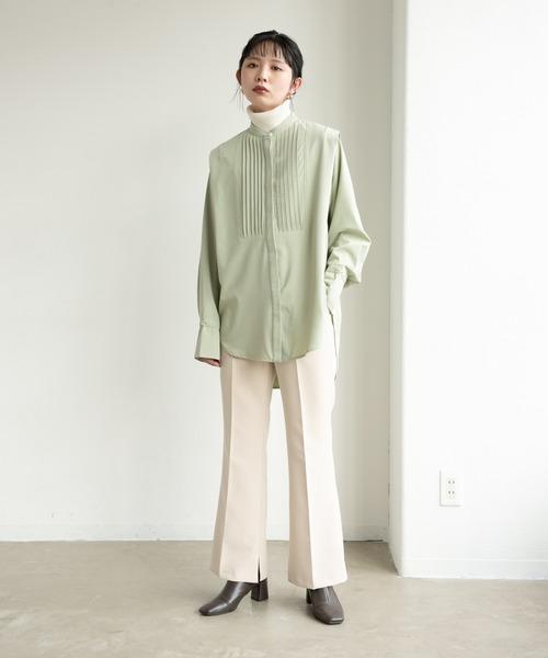 YARD PLUS/AUNT MARIE'S] ショルダータックバンドカラーシャツ/AUNT MARIE'S