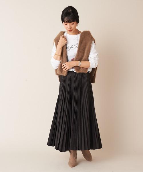 [SHENERY] タフタプリーツ加工ロングスカート