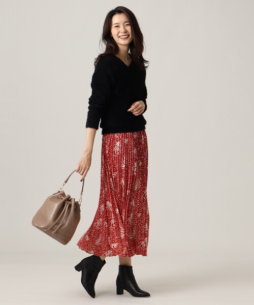 [UNTITLED] 【洗える】花柄ロングプリーツスカート