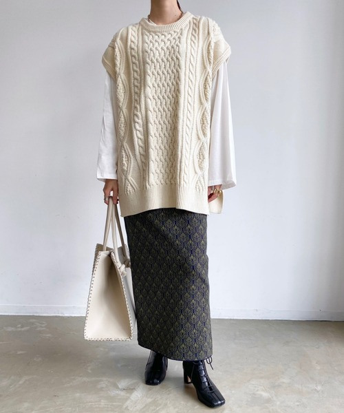 [Auntie Rosa] 【2021/冬春】ジャガードニットタイトスカート/ニットスカート/ウエストゴム