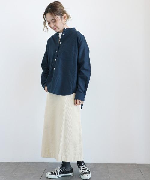 [AMERICAN HOLIC] スタンドカラー綿オックスシャツ