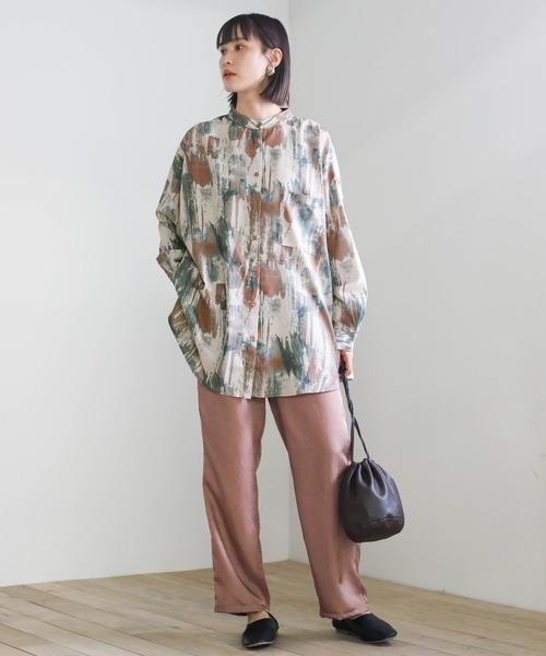 [select MOCA] 2021 S/S ペイントデザインメンズライクシャツ/オーバーサイズバンドカラー総柄シャツ