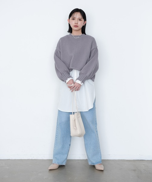 [YARD PLUS/AUNT MARIE'S] 【2021ss / new arrival】ダメージショート丈ニット/AUNT MARIE'S