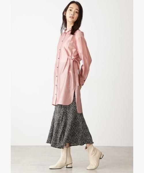 レオパードペプラムロングスカート