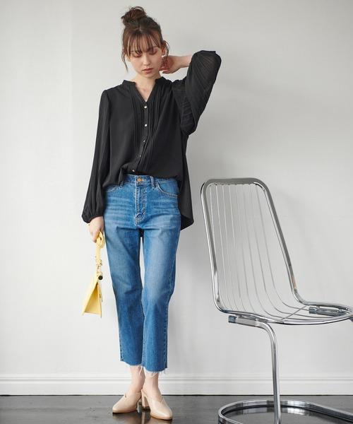 [ViS] 【WEB限定】袖プリーツピンタックブラウス