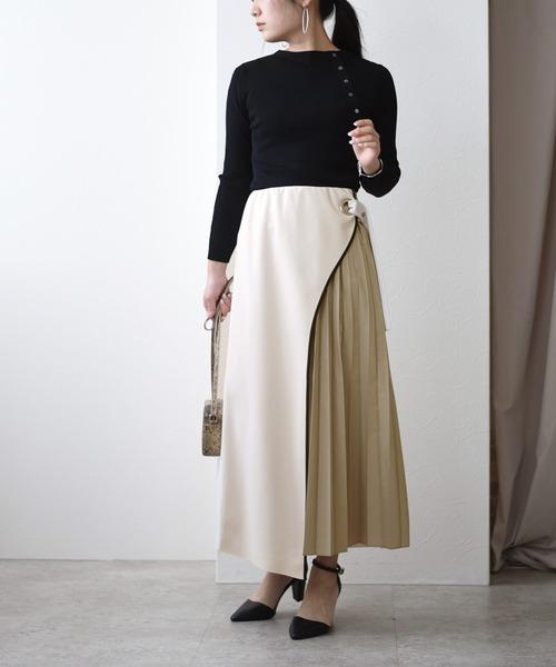 [Eimee Law] サイドプリーツ ボンディング ロングスカート