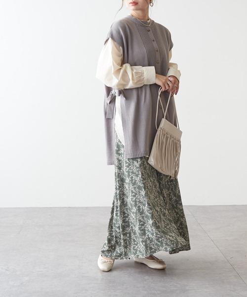 ジョーゼット花柄フレアスカート